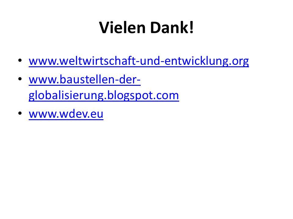 Vielen Dank! www.weltwirtschaft-und-entwicklung.org www.baustellen-der- globalisierung.blogspot.com www.baustellen-der- globalisierung.blogspot.com ww