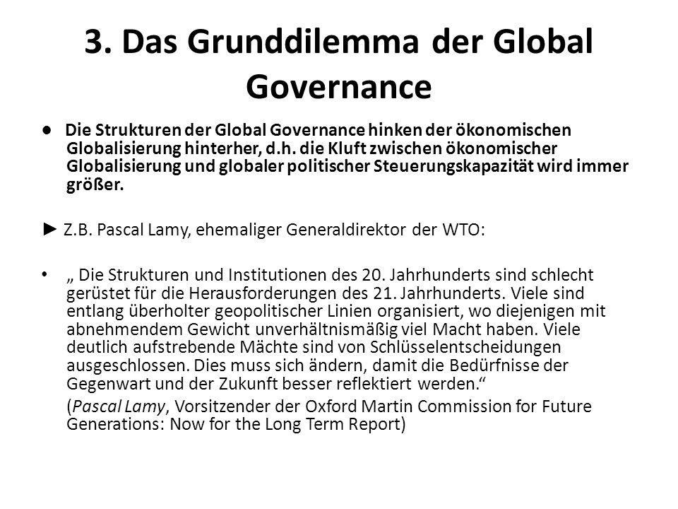 3. Das Grunddilemma der Global Governance Die Strukturen der Global Governance hinken der ökonomischen Globalisierung hinterher, d.h. die Kluft zwisch