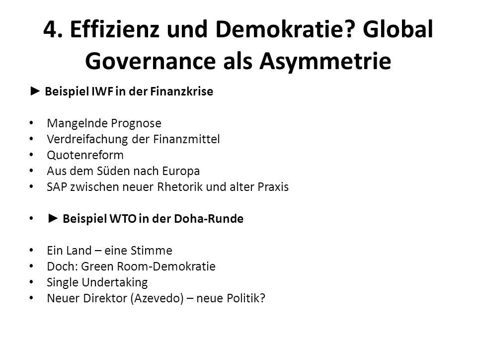 4. Effizienz und Demokratie? Global Governance als Asymmetrie Beispiel IWF in der Finanzkrise Mangelnde Prognose Verdreifachung der Finanzmittel Quote
