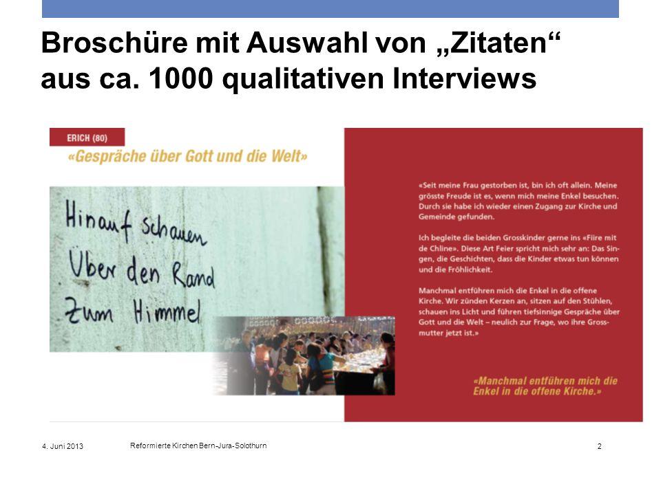 4. Juni 2013 Reformierte Kirchen Bern-Jura-Solothurn 2 Broschüre mit Auswahl von Zitaten aus ca. 1000 qualitativen Interviews