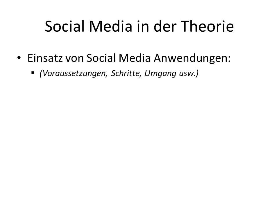 Social Media in der Theorie Einsatz von Social Media Anwendungen: (Voraussetzungen, Schritte, Umgang usw.)