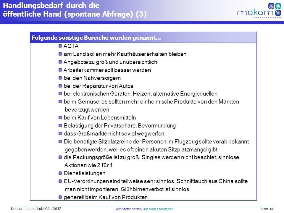 Auf Fakten setzen, auf Menschen zählen Konsumentenschutz März 2012 Auf Fakten setzen, auf Menschen zählen Seite 18 Handlungsbedarf durch die öffentliche Hand (spontane Abfrage) (3) Folgende sonstige Bereiche wurden genannt...