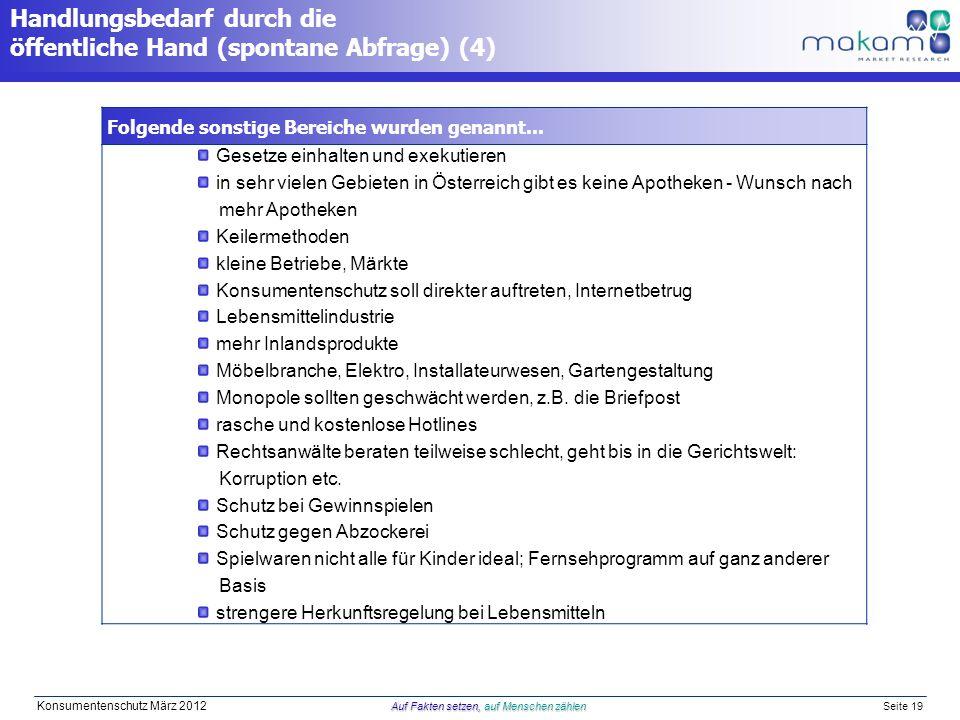 Auf Fakten setzen, auf Menschen zählen Konsumentenschutz März 2012 Auf Fakten setzen, auf Menschen zählen Seite 19 Handlungsbedarf durch die öffentliche Hand (spontane Abfrage) (4) Folgende sonstige Bereiche wurden genannt...