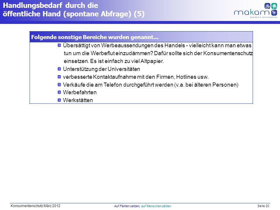 Auf Fakten setzen, auf Menschen zählen Konsumentenschutz März 2012 Auf Fakten setzen, auf Menschen zählen Seite 20 Handlungsbedarf durch die öffentliche Hand (spontane Abfrage) (5) Folgende sonstige Bereiche wurden genannt...