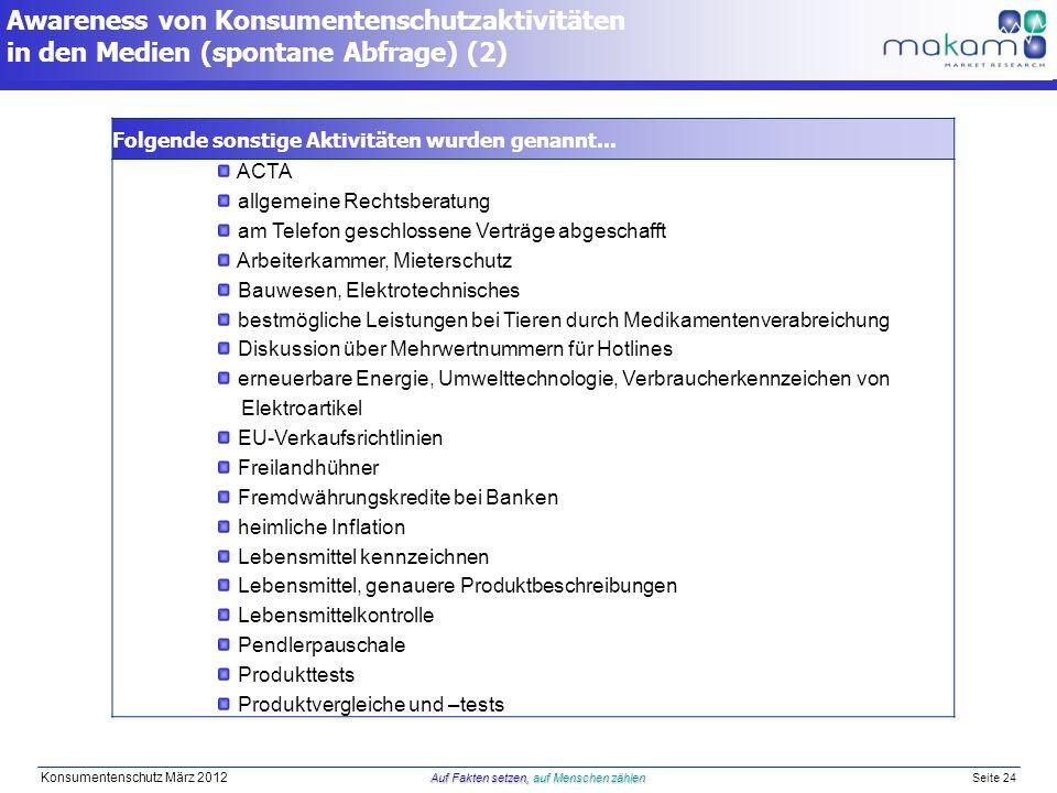 Auf Fakten setzen, auf Menschen zählen Konsumentenschutz März 2012 Auf Fakten setzen, auf Menschen zählen Seite 24 Folgende sonstige Aktivitäten wurden genannt...