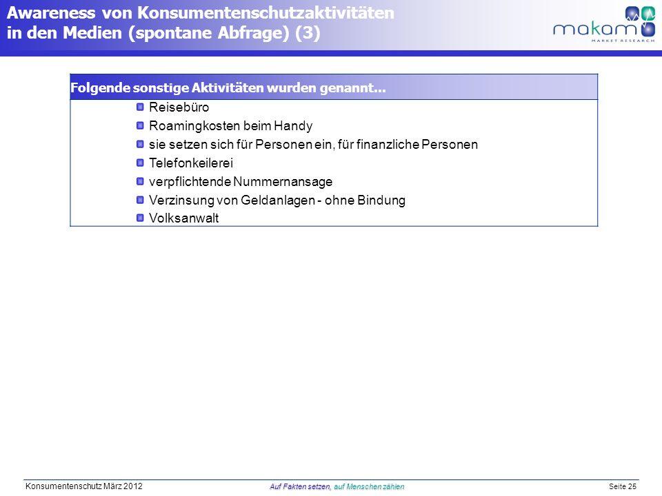 Auf Fakten setzen, auf Menschen zählen Konsumentenschutz März 2012 Auf Fakten setzen, auf Menschen zählen Seite 25 Folgende sonstige Aktivitäten wurde