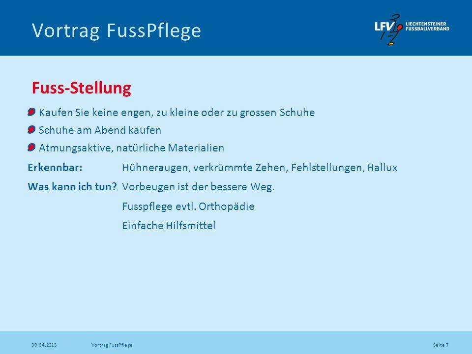 Seite 18 30.04.2013 Vortrag FussPflege Fersenriss Ursache: Krankheiten, falsche Pflege Erkennbar: Eine Schrunde, Rhagade.