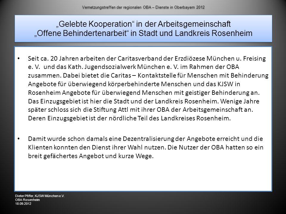 Vernetzungstreffen der regionalen OBA – Dienste in Oberbayern 2012 Gelebte Kooperation in der Arbeitsgemeinschaft Offene Behindertenarbeit in Stadt un