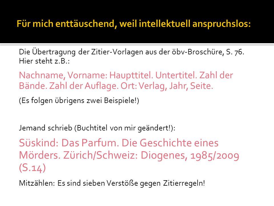 Die Übertragung der Zitier-Vorlagen aus der öbv-Broschüre, S.