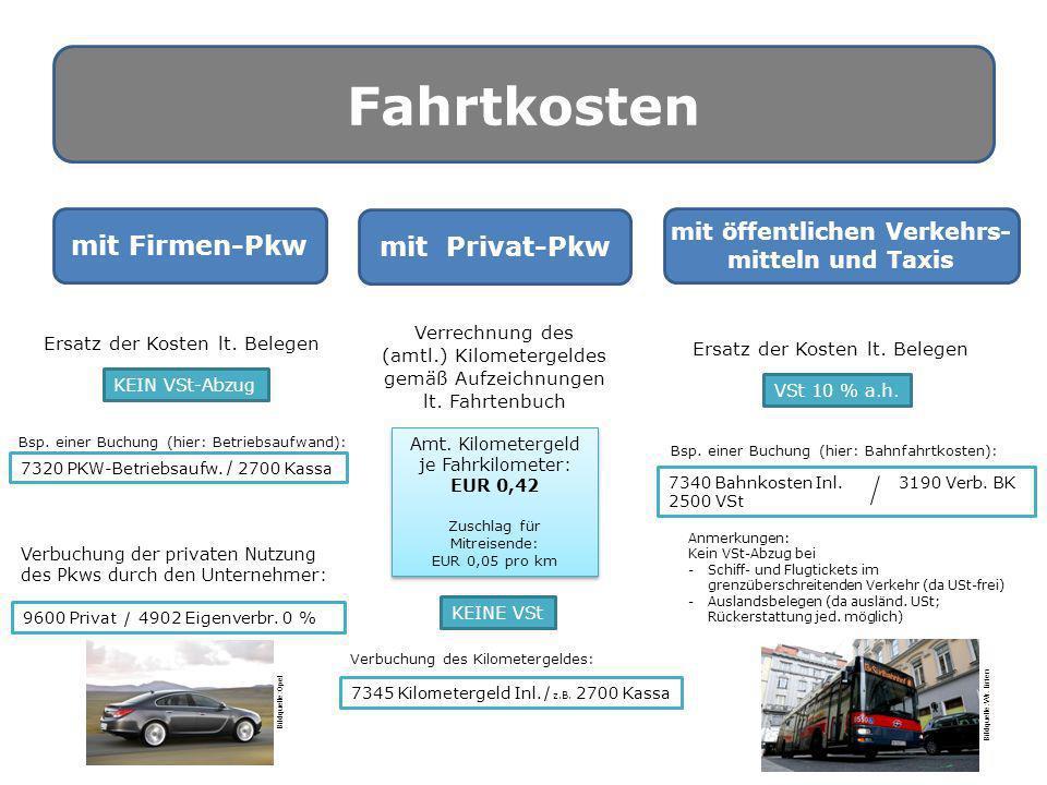 Fahrtkosten mit Firmen-Pkw mit Privat-Pkw mit öffentlichen Verkehrs- mitteln und Taxis Ersatz der Kosten lt. Belegen VSt 10 % a.h. Bsp. einer Buchung