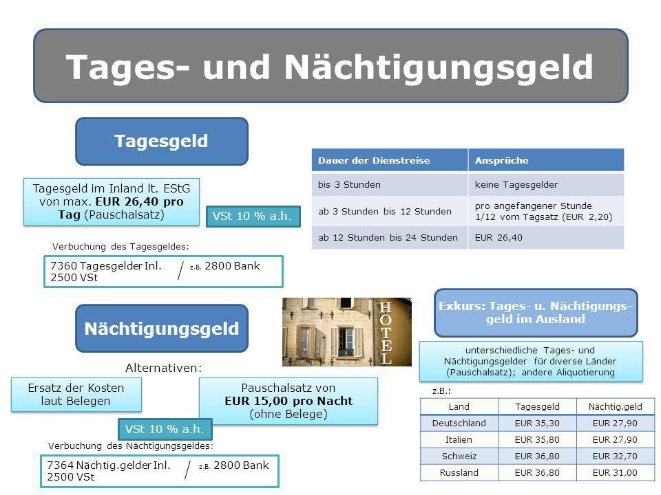 Tages- und Nächtigungsgeld Tagesgeld VSt 10 % a.h. Tagesgeld im Inland lt. EStG von max. EUR 26,40 pro Tag (Pauschalsatz) Dauer der DienstreiseAnsprüc