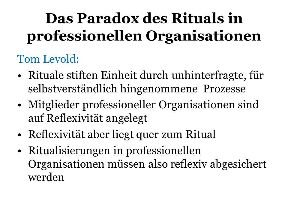 Das Paradox des Rituals in professionellen Organisationen Tom Levold: Rituale stiften Einheit durch unhinterfragte, für selbstverständlich hingenommen