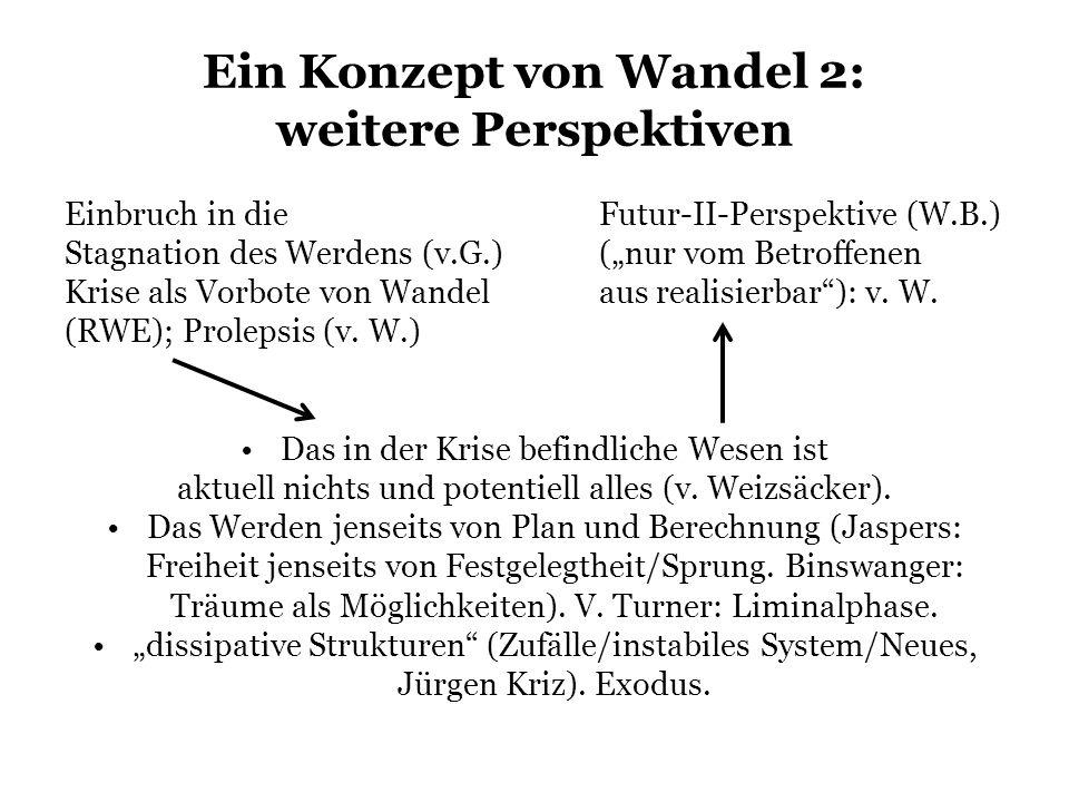 Ein Konzept von Wandel 2: weitere Perspektiven Einbruch in dieFutur-II-Perspektive (W.B.) Stagnation des Werdens (v.G.)(nur vom Betroffenen Krise als