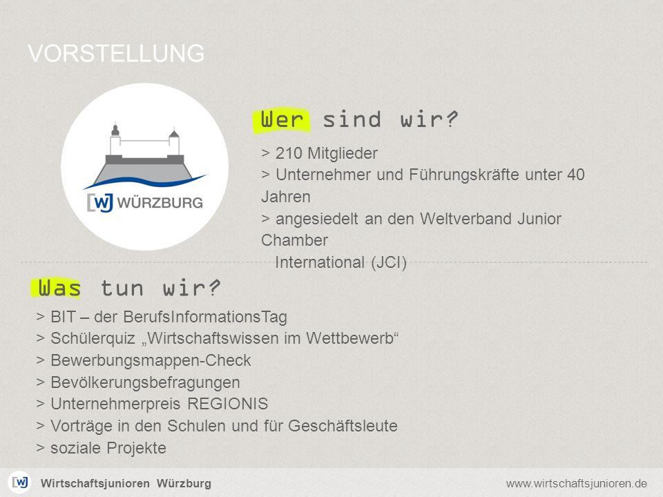 Wirtschaftsjunioren Würzburgwww.wirtschaftsjunioren.de Wer sind wir? VORSTELLUNG > 210 Mitglieder > Unternehmer und Führungskräfte unter 40 Jahren > a