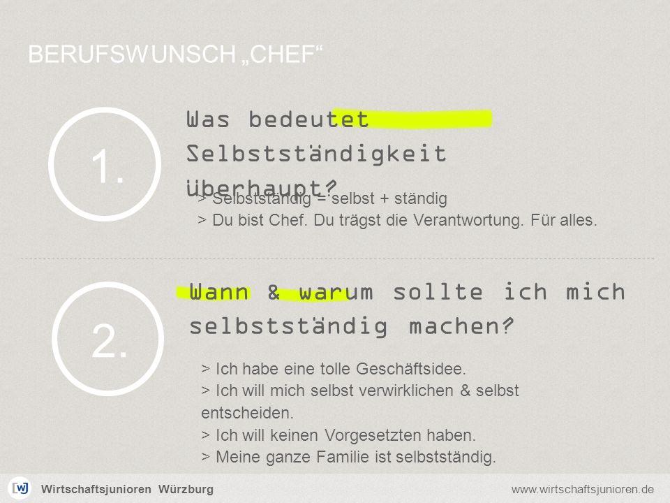 Wirtschaftsjunioren Würzburgwww.wirtschaftsjunioren.de Was bedeutet Selbstständigkeit überhaupt? BERUFSWUNSCH CHEF 1. > Selbstständig = selbst + ständ