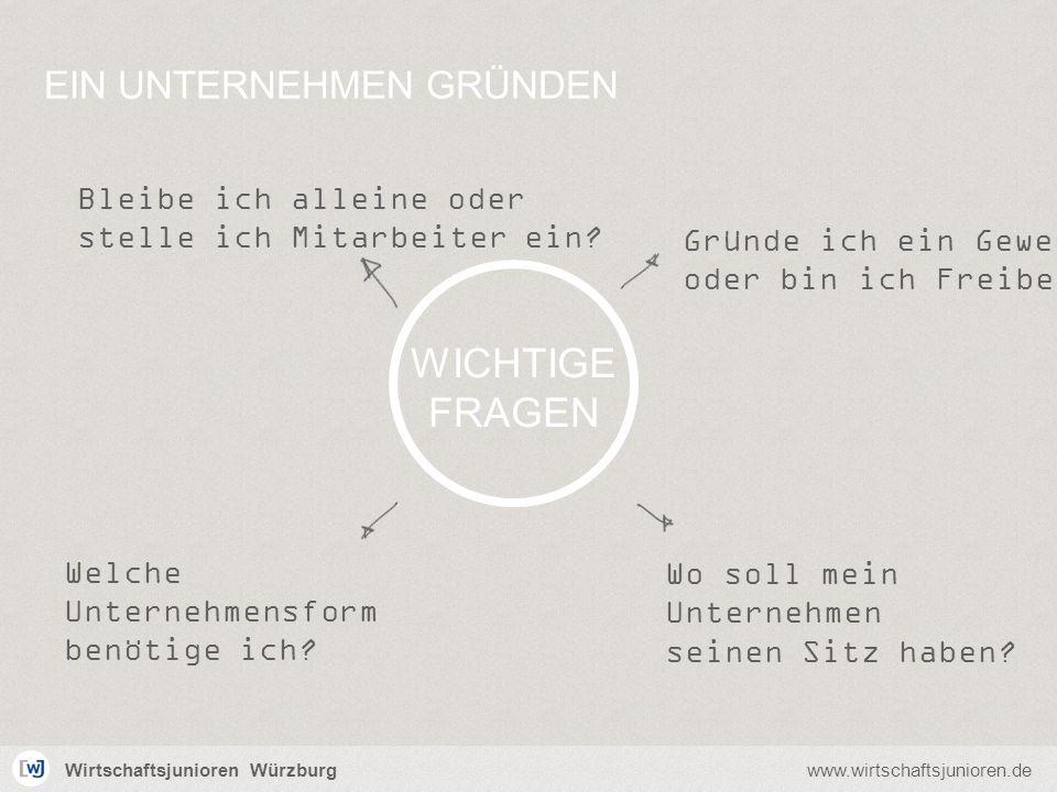 Wirtschaftsjunioren Würzburgwww.wirtschaftsjunioren.de Wo soll mein Unternehmen seinen Sitz haben? Welche Unternehmensform benötige ich? Bleibe ich al
