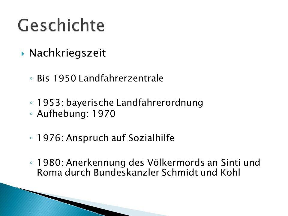 Nachkriegszeit Bis 1950 Landfahrerzentrale 1953: bayerische Landfahrerordnung Aufhebung: 1970 1976: Anspruch auf Sozialhilfe 1980: Anerkennung des Völ