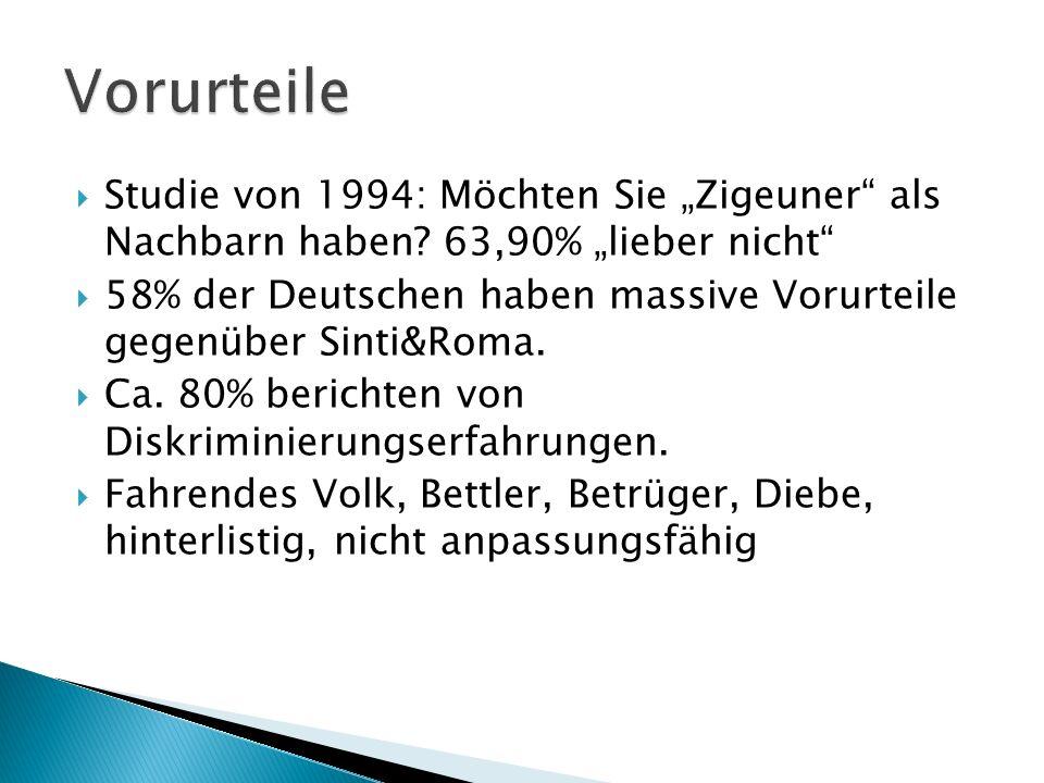 Studie von 1994: Möchten Sie Zigeuner als Nachbarn haben? 63,90% lieber nicht 58% der Deutschen haben massive Vorurteile gegenüber Sinti&Roma. Ca. 80%