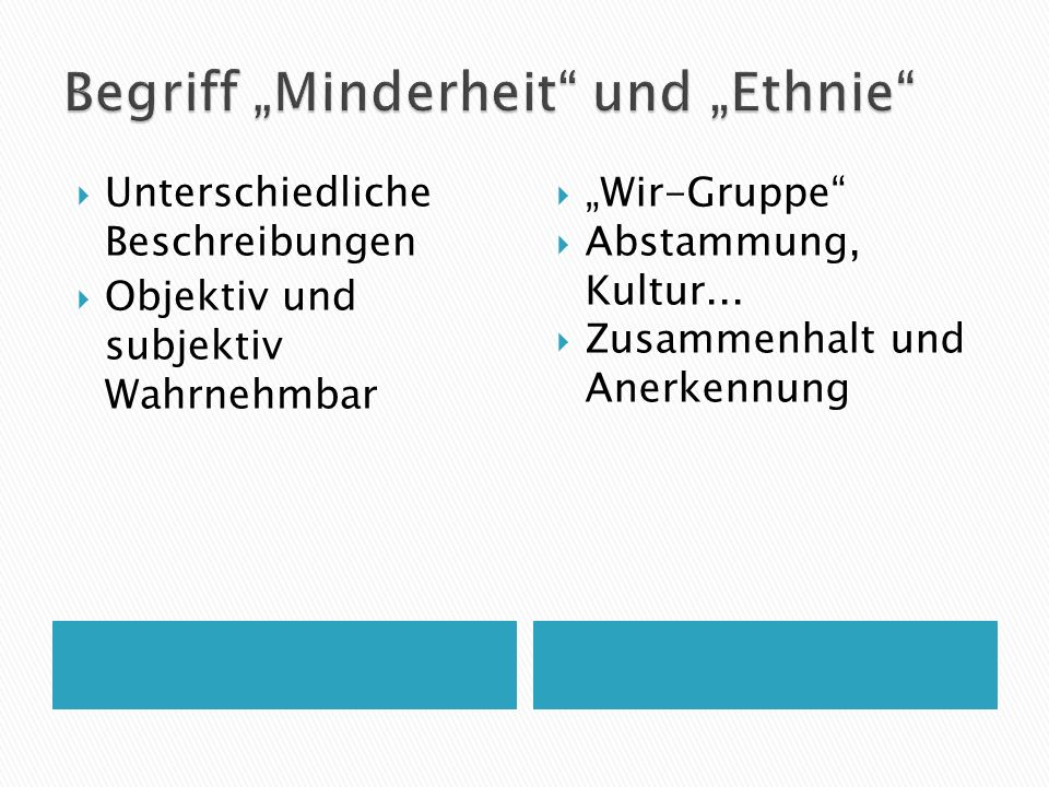Unterschiedliche Beschreibungen Objektiv und subjektiv Wahrnehmbar Wir-Gruppe Abstammung, Kultur... Zusammenhalt und Anerkennung