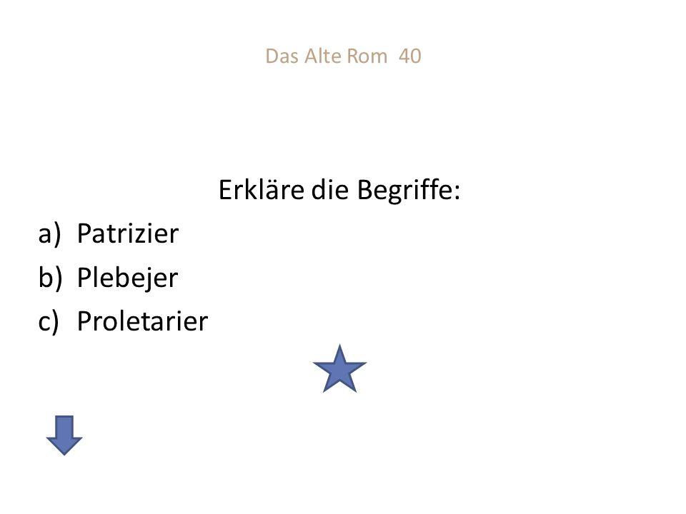 Das Alte Rom 40 Erkläre die Begriffe: a)Patrizier b)Plebejer c)Proletarier