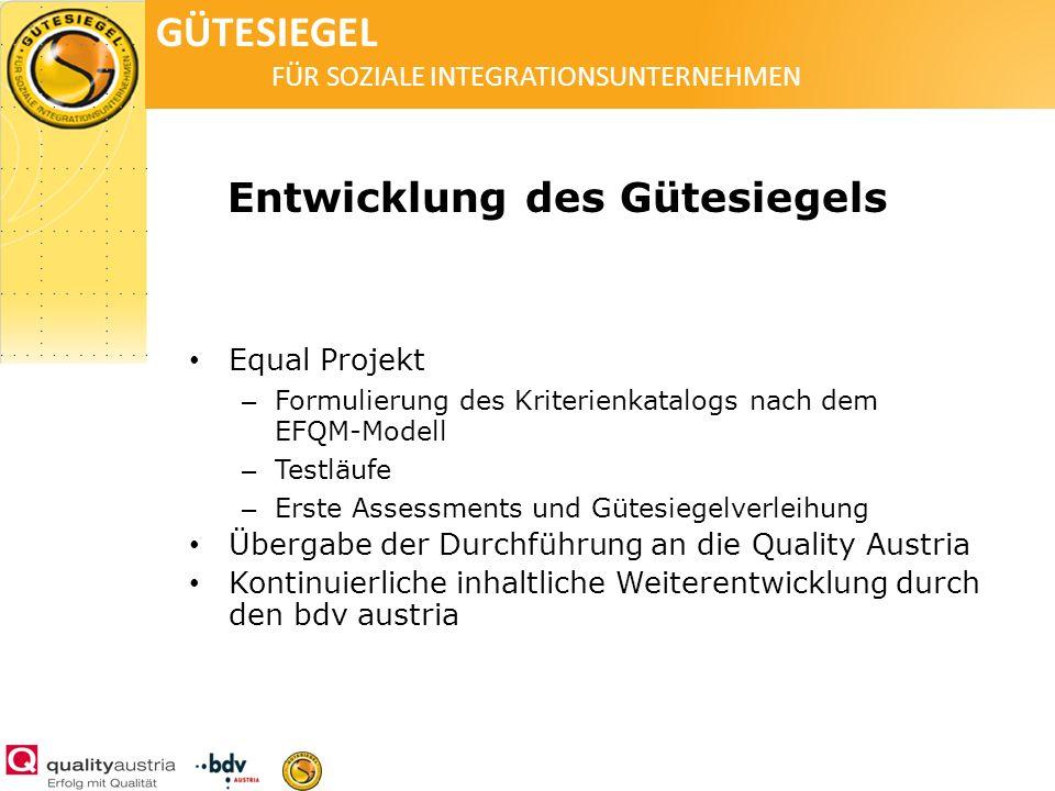 GÜTESIEGEL FÜR SOZIALE INTEGRATIONSUNTERNEHMEN Entwicklung des Gütesiegels Equal Projekt – Formulierung des Kriterienkatalogs nach dem EFQM-Modell – T