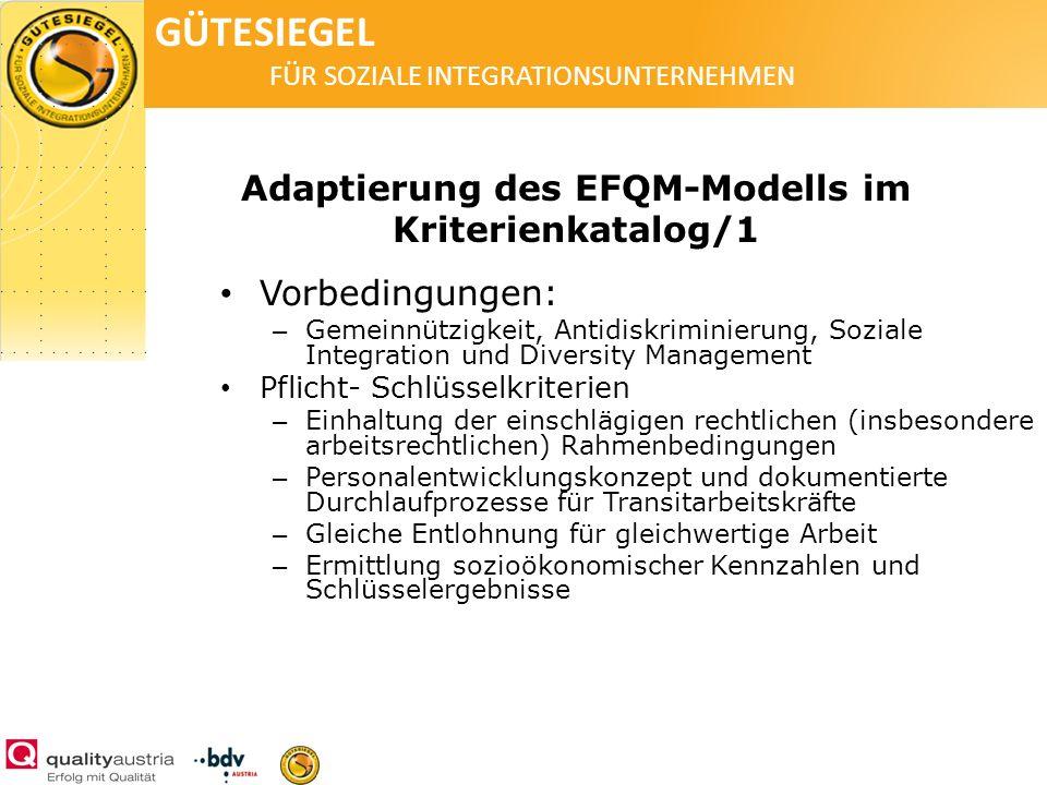 GÜTESIEGEL FÜR SOZIALE INTEGRATIONSUNTERNEHMEN Adaptierung des EFQM-Modells im Kriterienkatalog/1 Vorbedingungen: – Gemeinnützigkeit, Antidiskriminier
