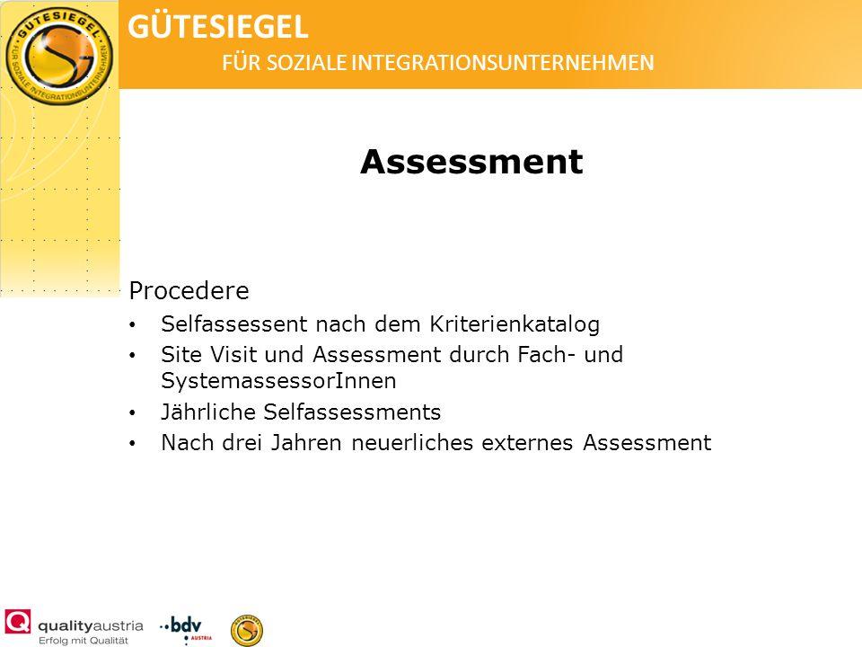 GÜTESIEGEL FÜR SOZIALE INTEGRATIONSUNTERNEHMEN Assessment Procedere Selfassessent nach dem Kriterienkatalog Site Visit und Assessment durch Fach- und