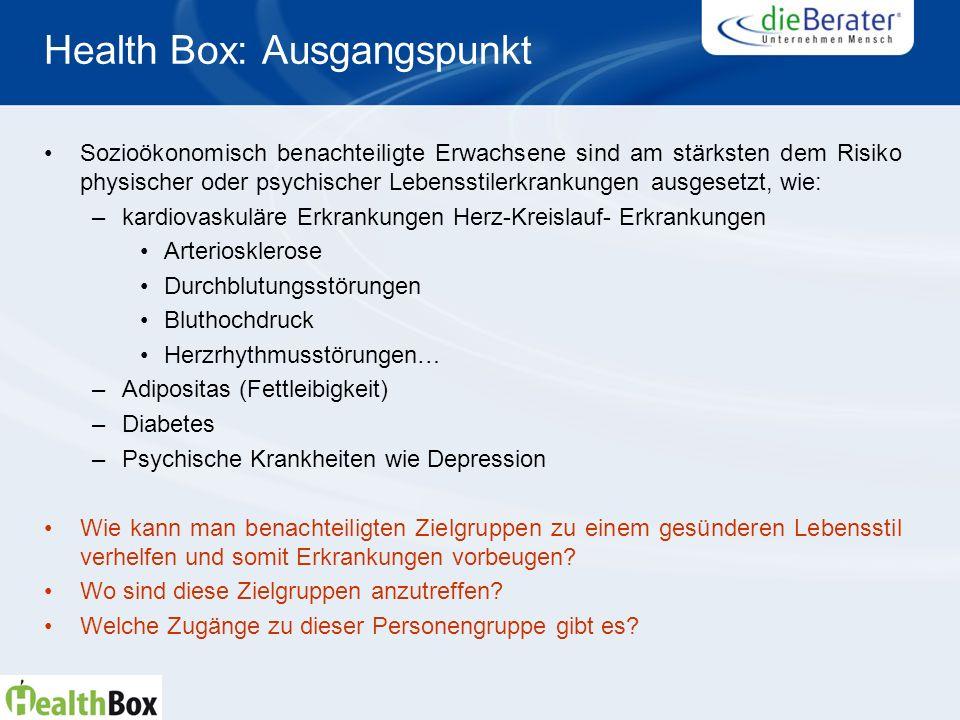 Health Box: Ausgangspunkt Sozioökonomisch benachteiligte Erwachsene sind am stärksten dem Risiko physischer oder psychischer Lebensstilerkrankungen au