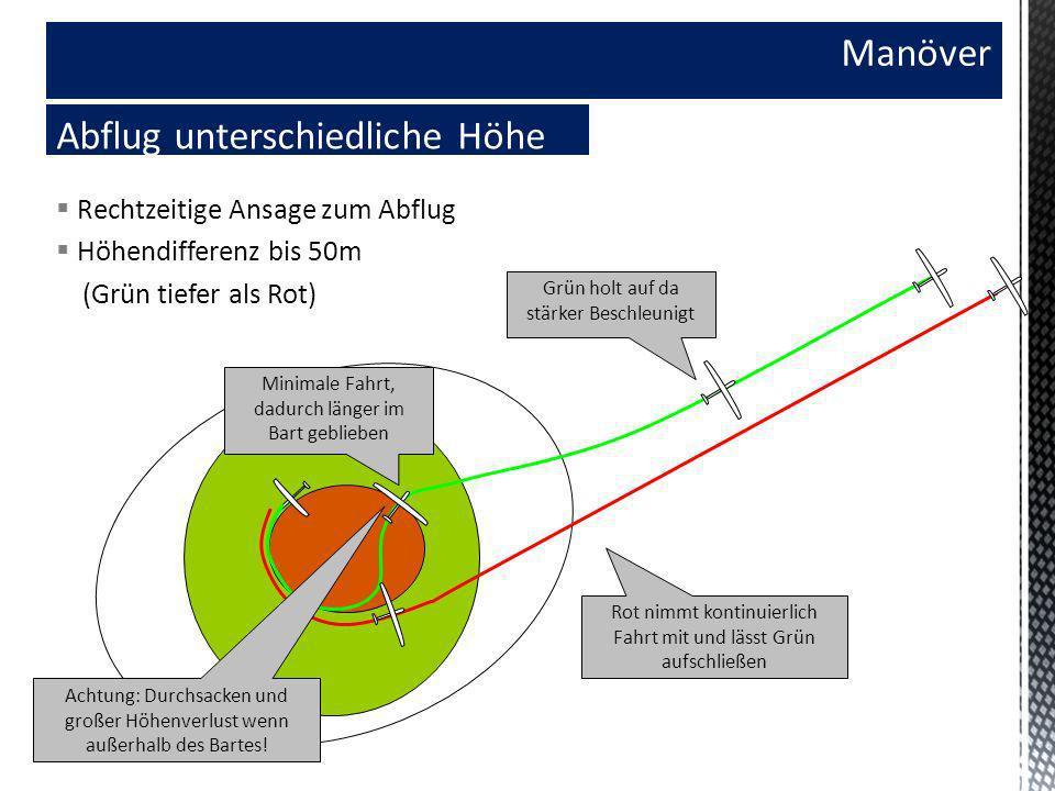 Manöver Abflug unterschiedliche Höhe Rechtzeitige Ansage zum Abflug Höhendifferenz bis 50m (Grün tiefer als Rot) Minimale Fahrt, dadurch länger im Bar