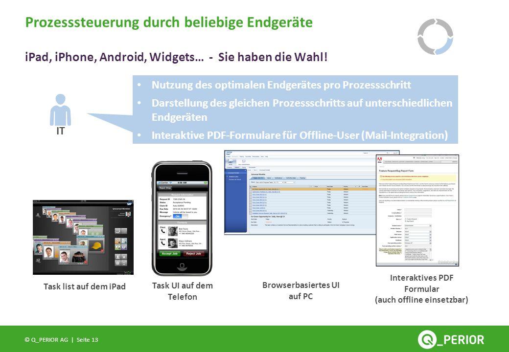Seite 13 © Q_PERIOR AG | Prozesssteuerung durch beliebige Endgeräte iPad, iPhone, Android, Widgets… - Sie haben die Wahl! Task list auf dem iPad Task