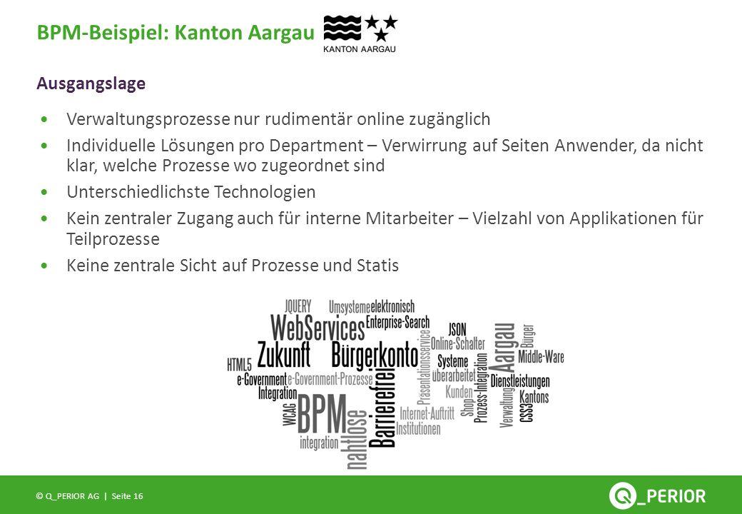 Seite 16 © Q_PERIOR AG | Ausgangslage BPM-Beispiel: Kanton Aargau Verwaltungsprozesse nur rudimentär online zugänglich Individuelle Lösungen pro Depar