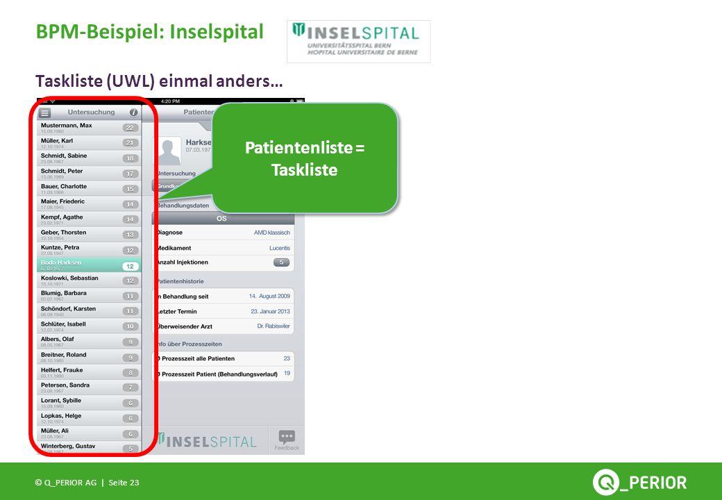 Seite 23 © Q_PERIOR AG | Taskliste (UWL) einmal anders… BPM-Beispiel: Inselspital Patientenliste = Taskliste
