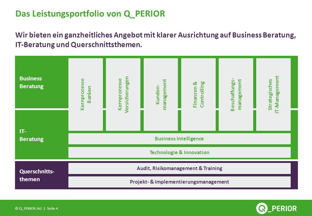 Seite 4 © Q_PERIOR AG | Das Leistungsportfolio von Q_PERIOR Wir bieten ein ganzheitliches Angebot mit klarer Ausrichtung auf Business Beratung, IT-Ber