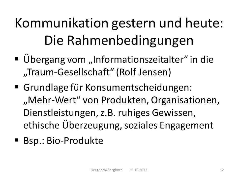 Übergang vom Informationszeitalter in die Traum-Gesellschaft (Rolf Jensen) Grundlage für Konsumentscheidungen: Mehr-Wert von Produkten, Organisationen