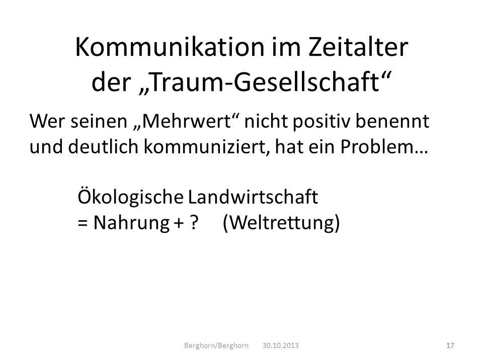 Wer seinen Mehrwert nicht positiv benennt und deutlich kommuniziert, hat ein Problem… Ökologische Landwirtschaft = Nahrung + ?(Weltrettung) Berghorn/B