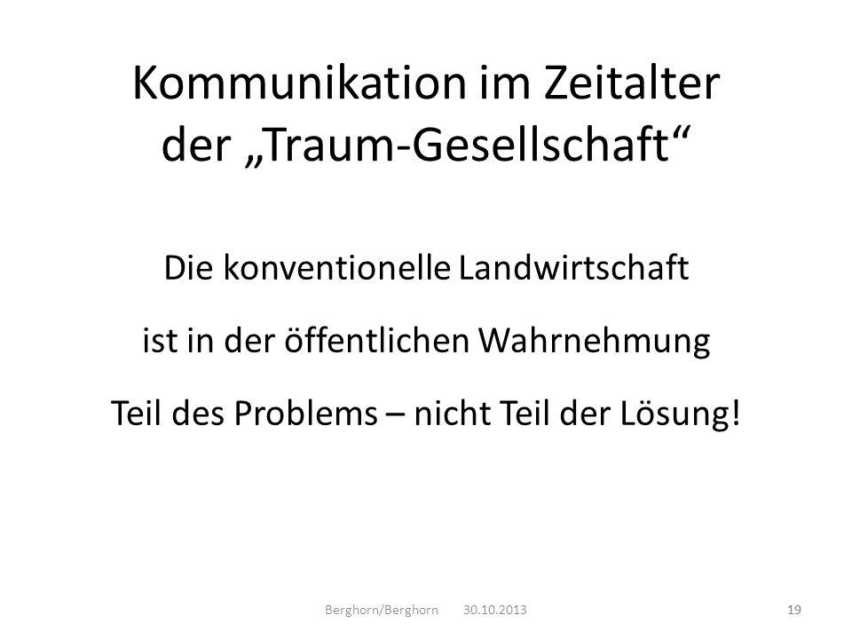 Die konventionelle Landwirtschaft ist in der öffentlichen Wahrnehmung Teil des Problems – nicht Teil der Lösung! Berghorn/Berghorn 30.10.201319 Kommun