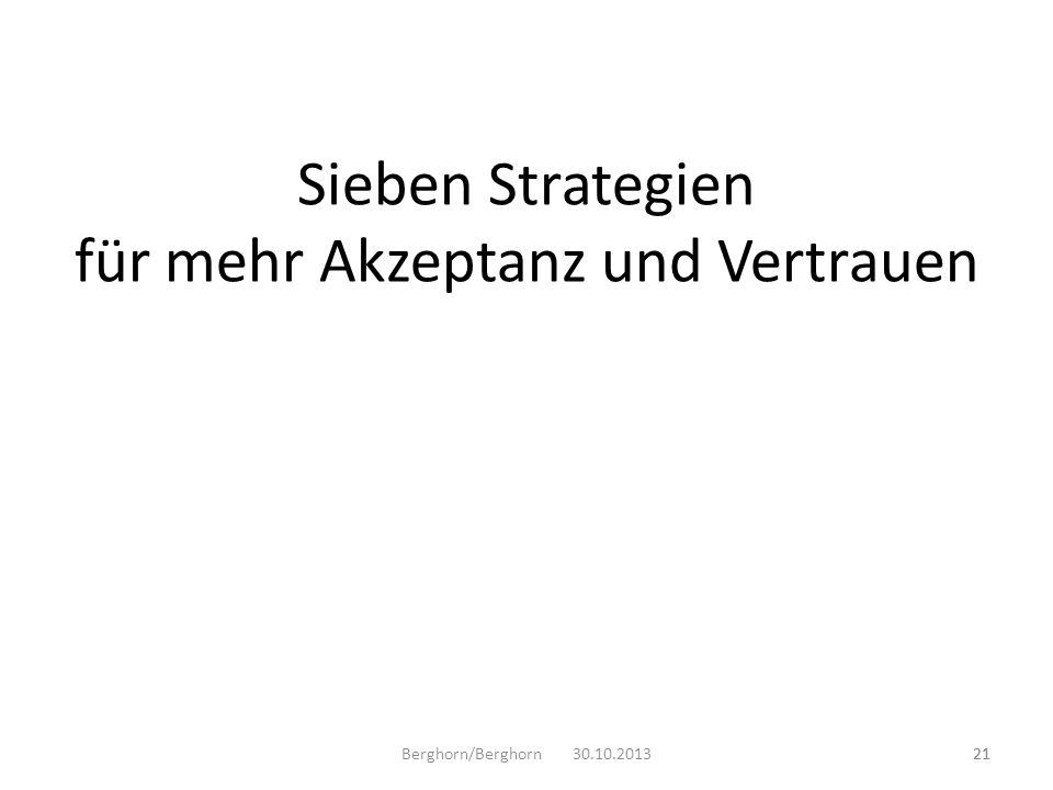 Sieben Strategien für mehr Akzeptanz und Vertrauen Berghorn/Berghorn 30.10.201321