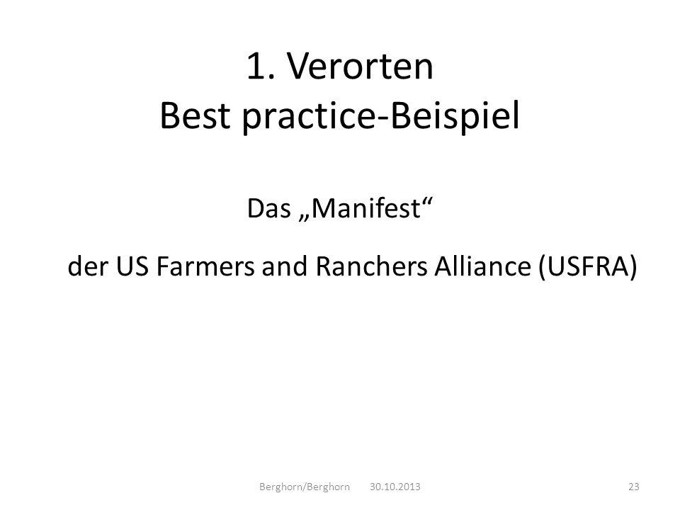 Das Manifest der US Farmers and Ranchers Alliance (USFRA) Berghorn/Berghorn 30.10.201323 1. Verorten Best practice-Beispiel