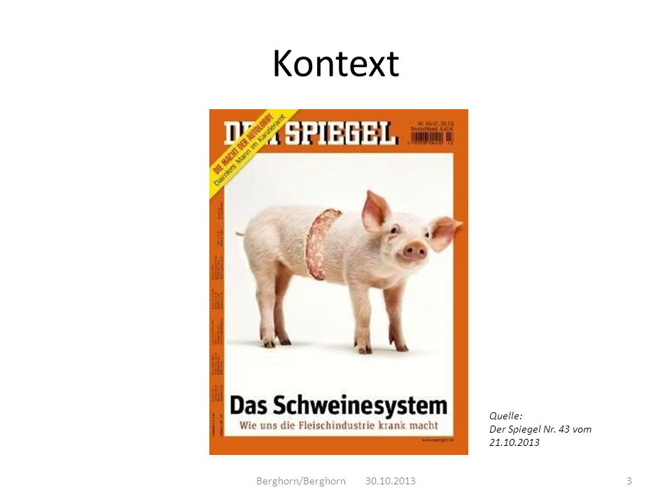 Kontext Berghorn/Berghorn 30.10.20133 Quelle: Der Spiegel Nr. 43 vom 21.10.2013