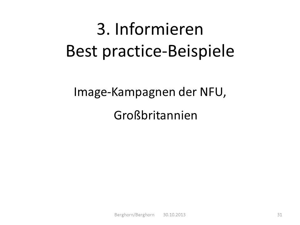 Image-Kampagnen der NFU, Großbritannien Berghorn/Berghorn 30.10.201331 3. Informieren Best practice-Beispiele