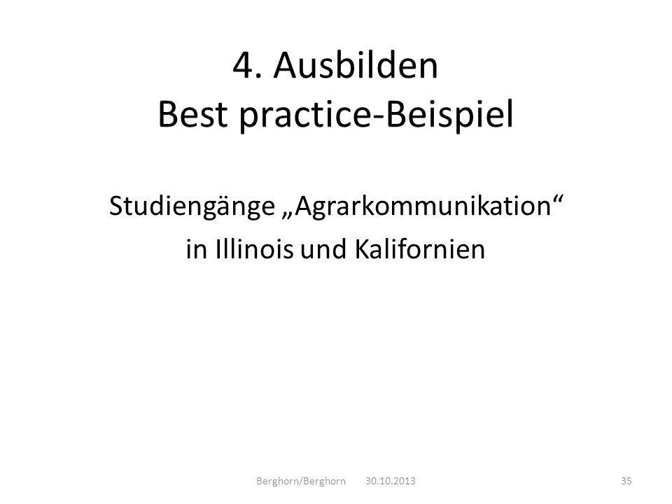 Studiengänge Agrarkommunikation in Illinois und Kalifornien Berghorn/Berghorn 30.10.201335 4. Ausbilden Best practice-Beispiel