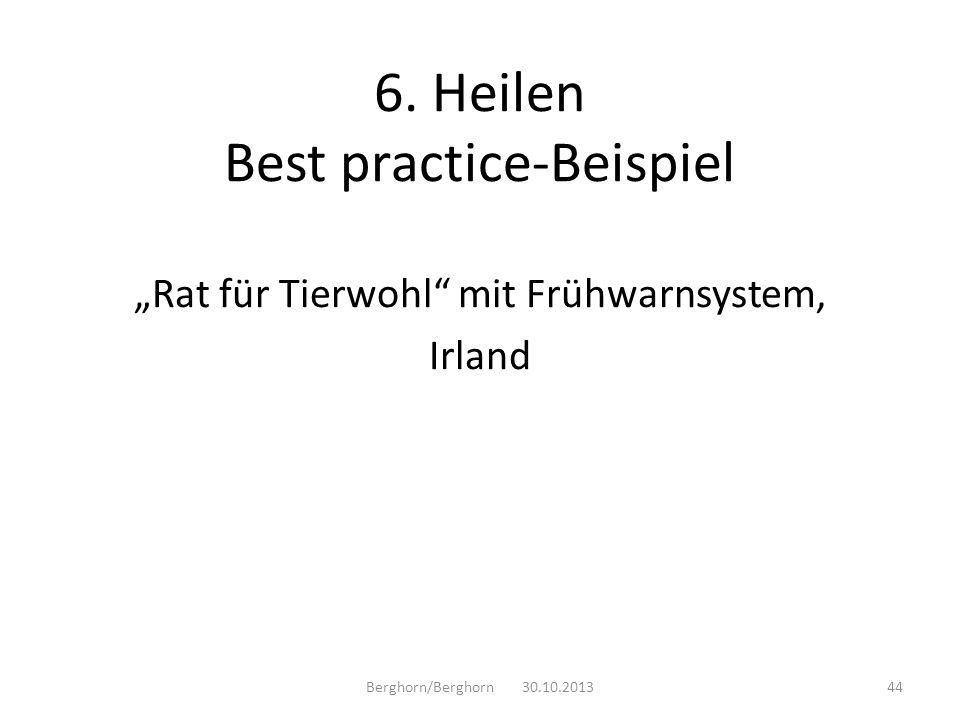 Rat für Tierwohl mit Frühwarnsystem, Irland Berghorn/Berghorn 30.10.201344 6. Heilen Best practice-Beispiel