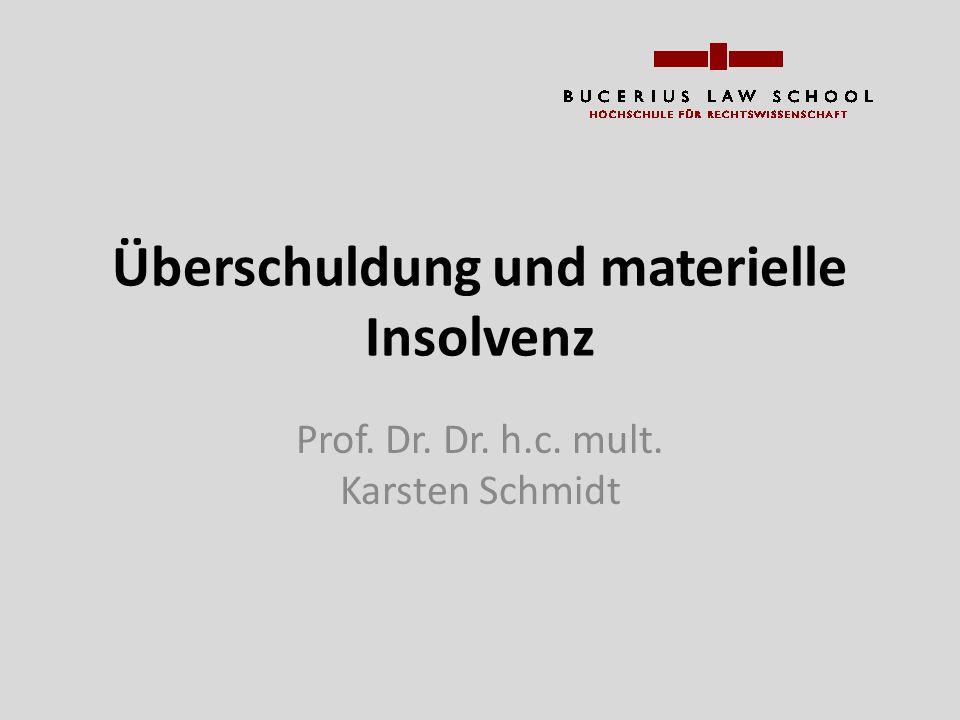 Überschuldung und materielle Insolvenz Prof. Dr. Dr. h.c. mult. Karsten Schmidt