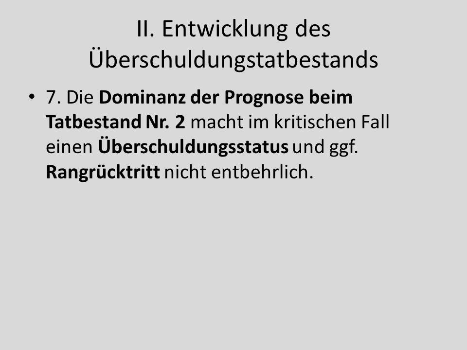 II.Entwicklung des Überschuldungstatbestands 7. Die Dominanz der Prognose beim Tatbestand Nr.