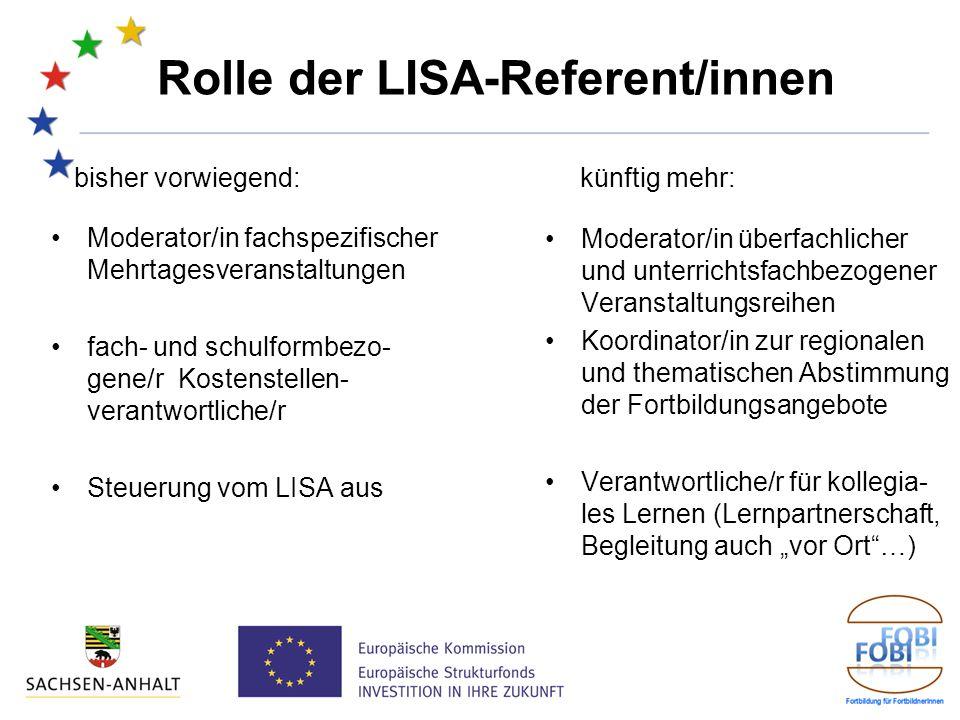 Rolle der LISA-Referent/innen bisher vorwiegend: Moderator/in fachspezifischer Mehrtagesveranstaltungen fach- und schulformbezo- gene/r Kostenstellen- verantwortliche/r Steuerung vom LISA aus künftig mehr: Moderator/in überfachlicher und unterrichtsfachbezogener Veranstaltungsreihen Koordinator/in zur regionalen und thematischen Abstimmung der Fortbildungsangebote Verantwortliche/r für kollegia- les Lernen (Lernpartnerschaft, Begleitung auch vor Ort…)
