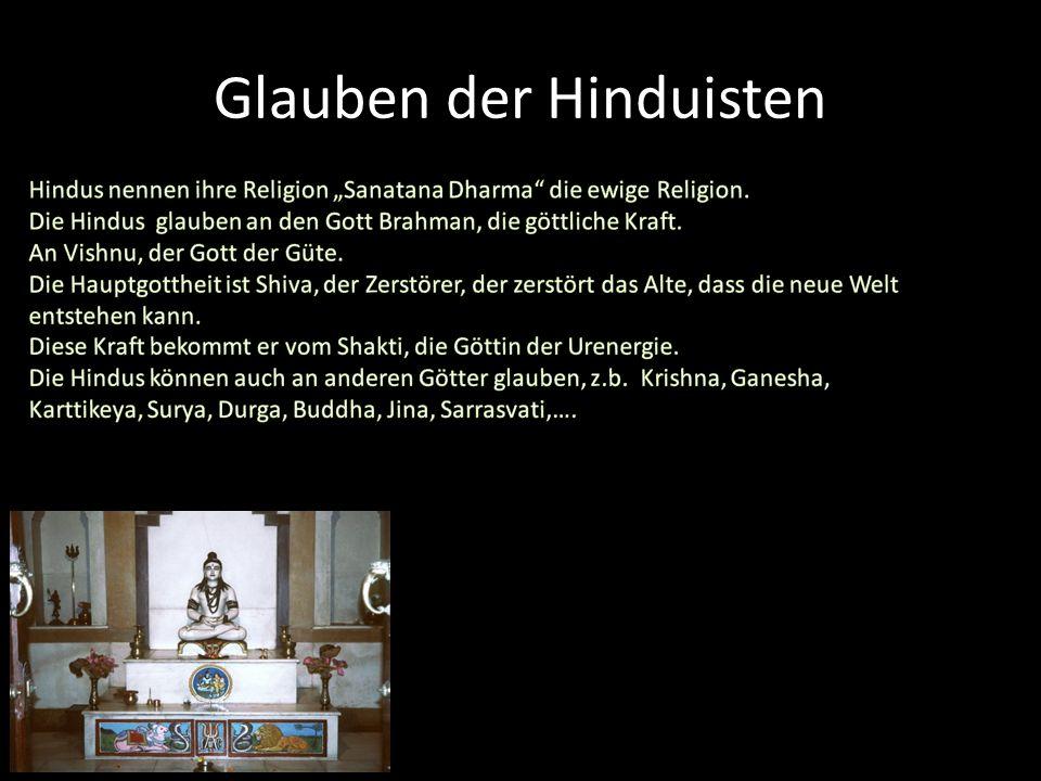 Die Hindus haben mehrere heilige Bücher. Diese Bücher erzählen das Leben der Götter. Der älteste Buch heißt «Rig-Veda« der über 3.000 Jahren geschrieb