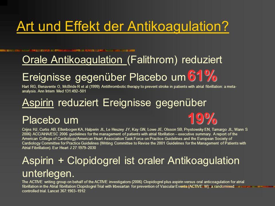 Art und Effekt der Antikoagulation.