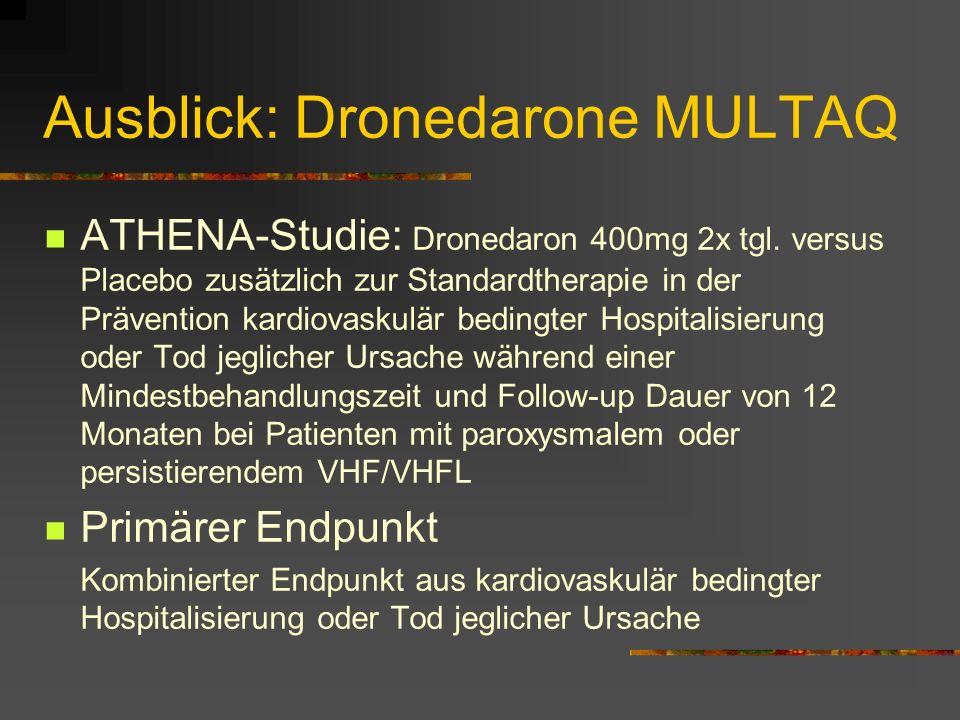 Ausblick: Dronedarone MULTAQ ATHENA-Studie: Dronedaron 400mg 2x tgl.