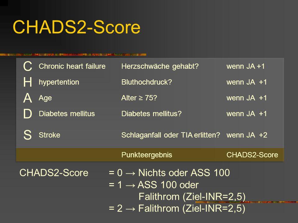 CHADS2-Score CHADS2-Score = 0 Nichts oder ASS 100 = 1 ASS 100 oder Falithrom (Ziel-INR=2,5) = 2 Falithrom (Ziel-INR=2,5)