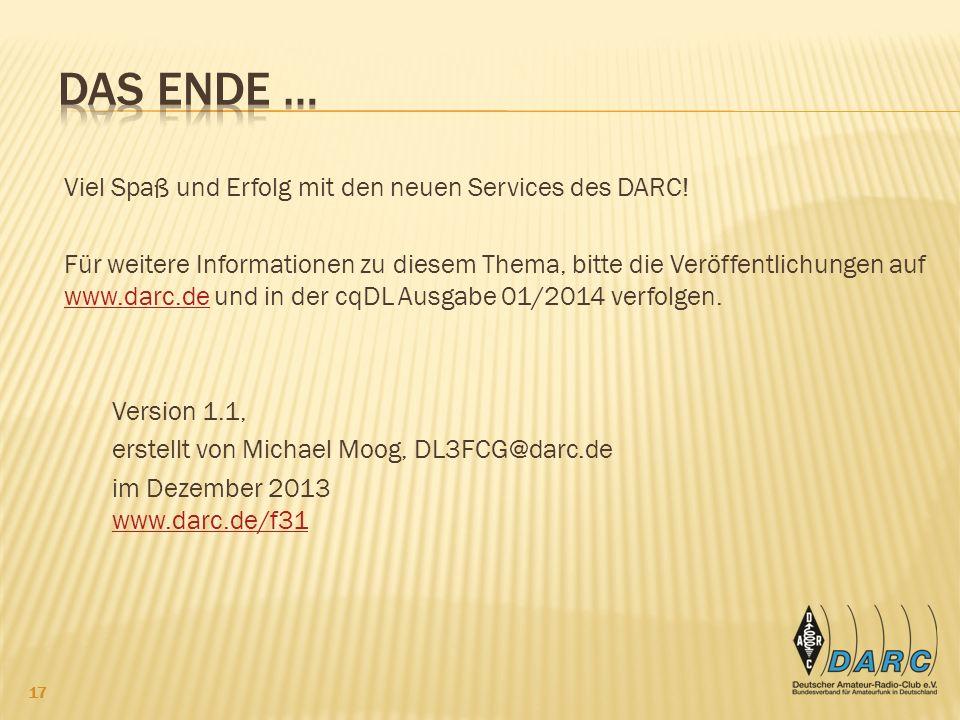Viel Spaß und Erfolg mit den neuen Services des DARC.